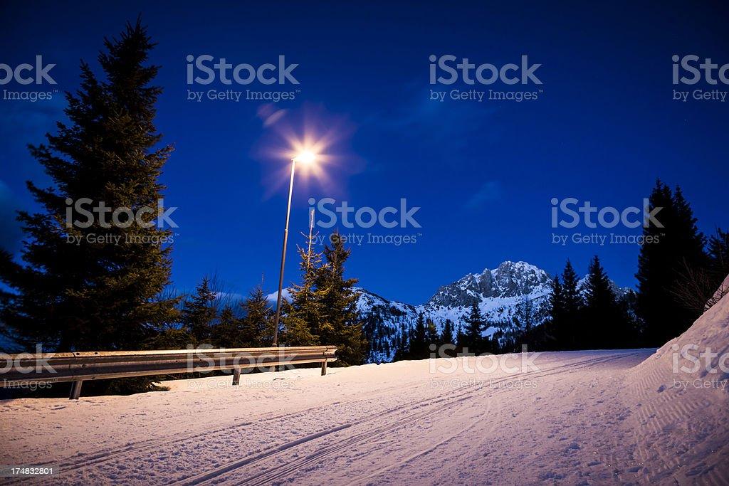Snowy street at night royalty-free stock photo
