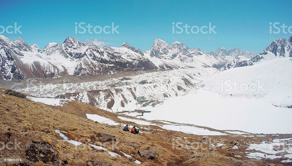 Snowy summer, peaks panorama in Himalayas stock photo