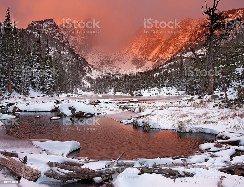 Snowy Sunrise at Dream Lake stock photo