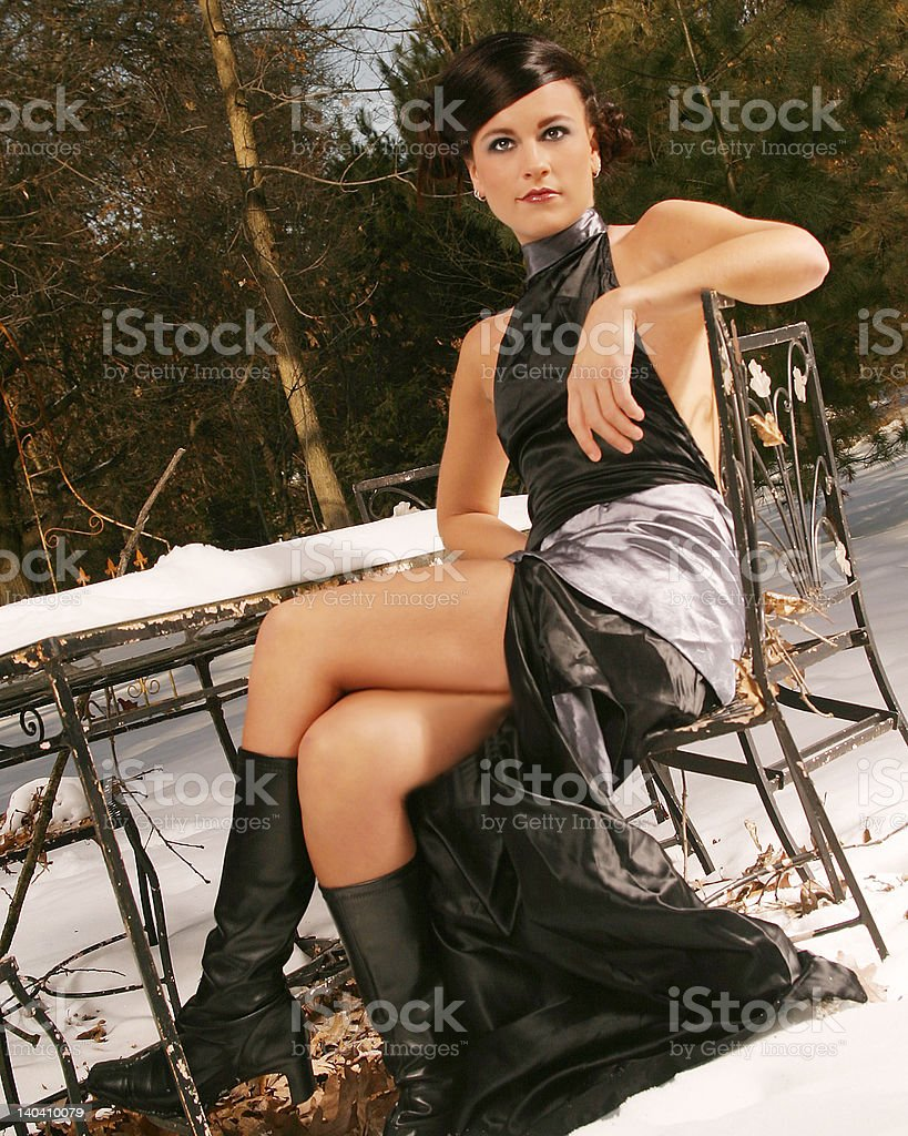 Snowy Table Portrait royalty-free stock photo