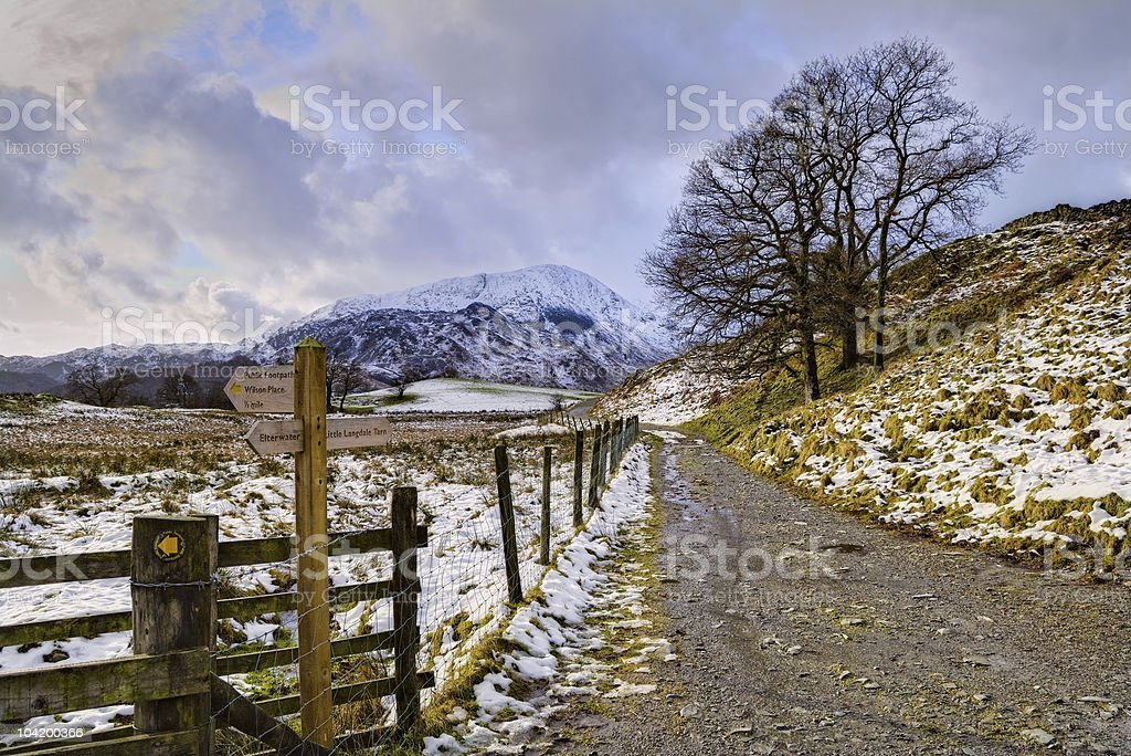 Snowy track and footpath sign stock photo