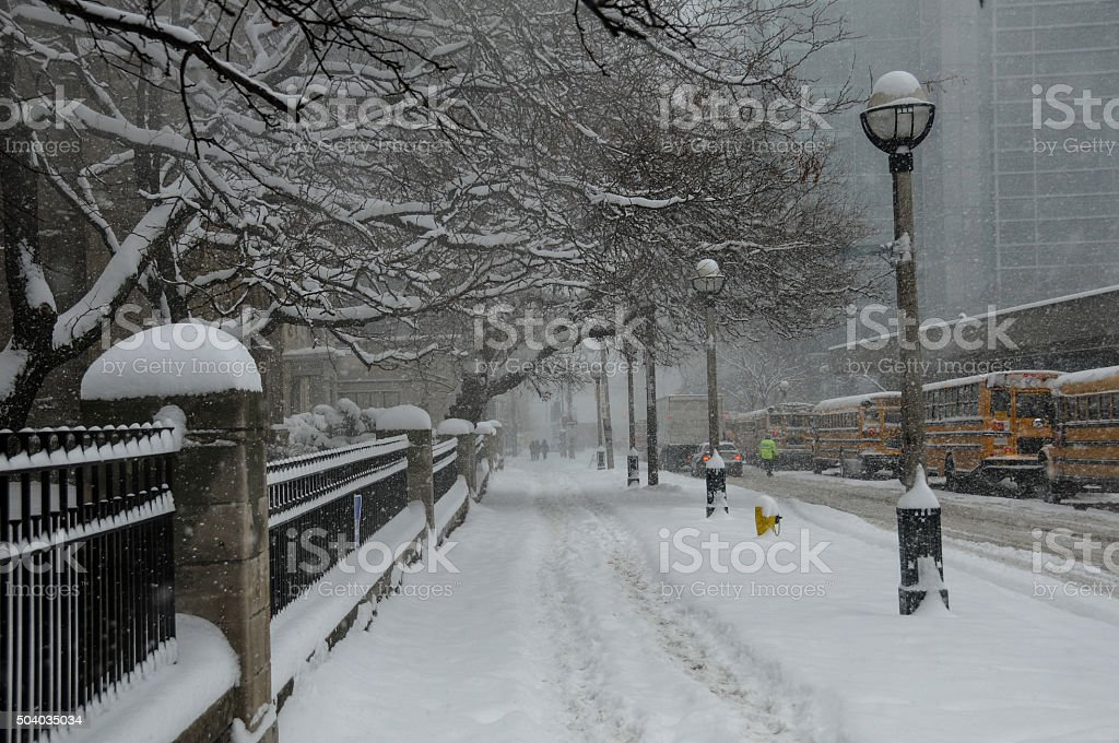 Snowy Traffic Scene stock photo