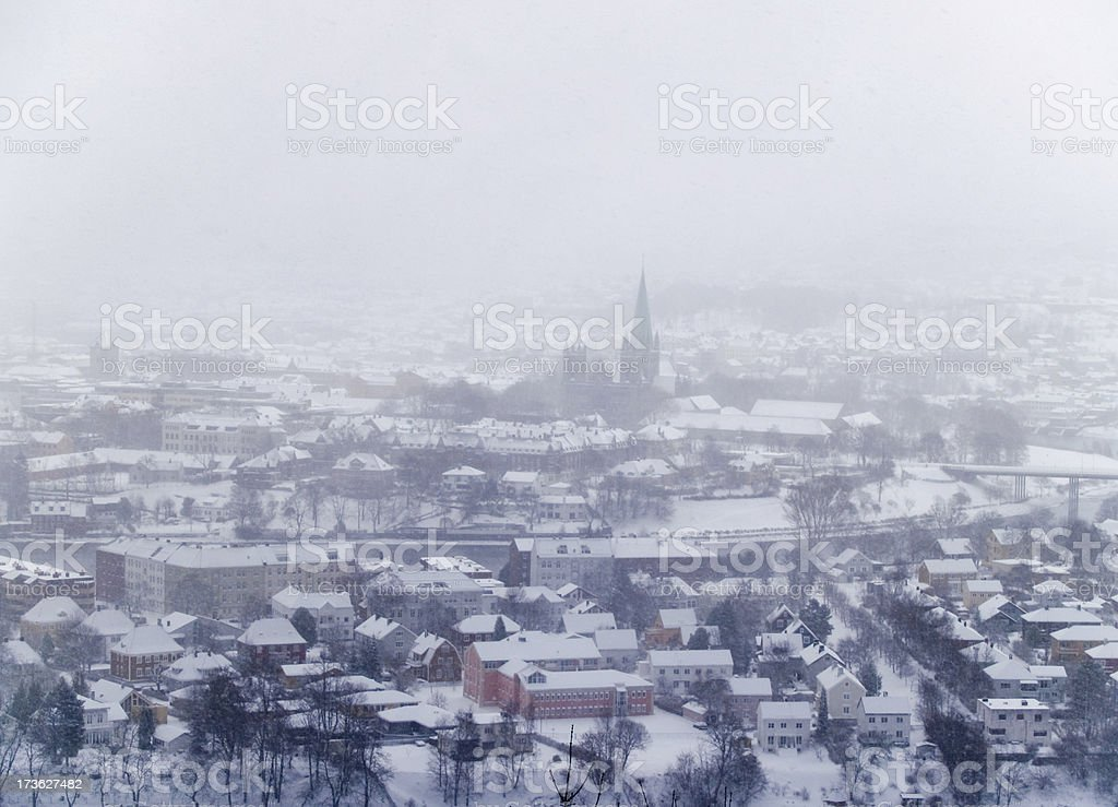 Snowy Trondheim Norway stock photo