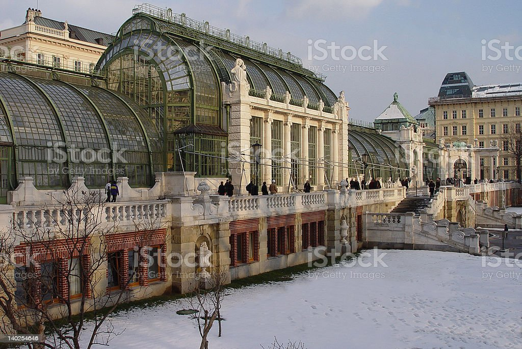 Snowy Vienna winter garden royalty-free stock photo