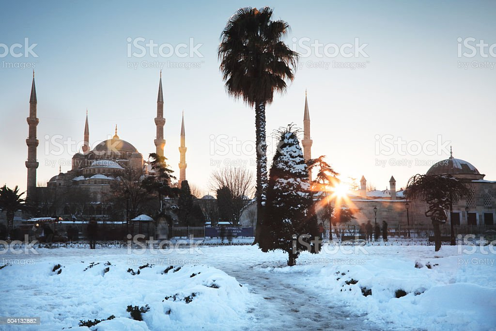 Snowy view of Blue Mosque stock photo