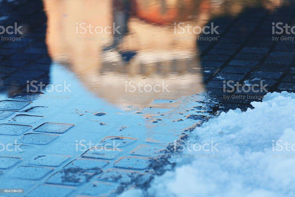 Snowy view of Hagia Sophia stock photo