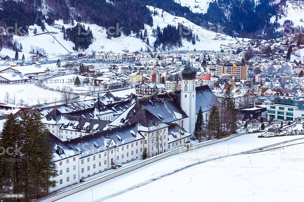Snowy village in the mountains stock photo