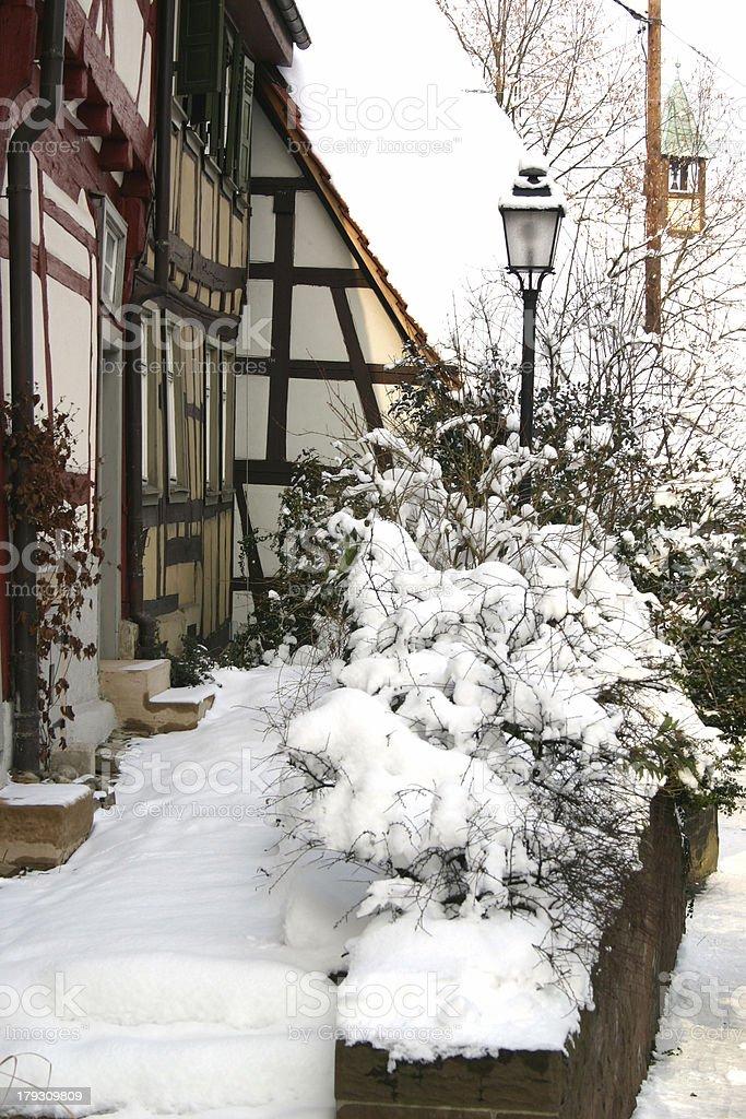 Snowy village royalty-free stock photo
