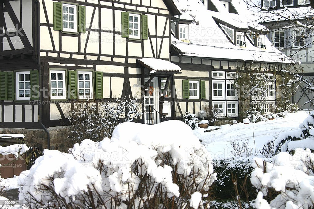 Snowy village stock photo