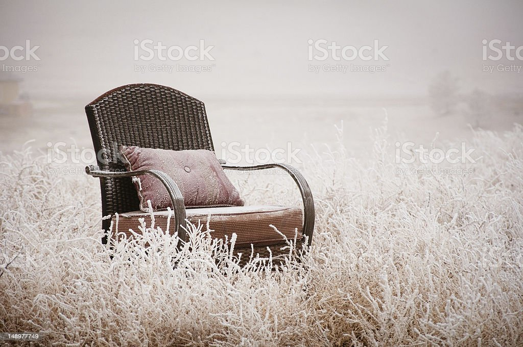 Snowy Vintage Chair royalty-free stock photo