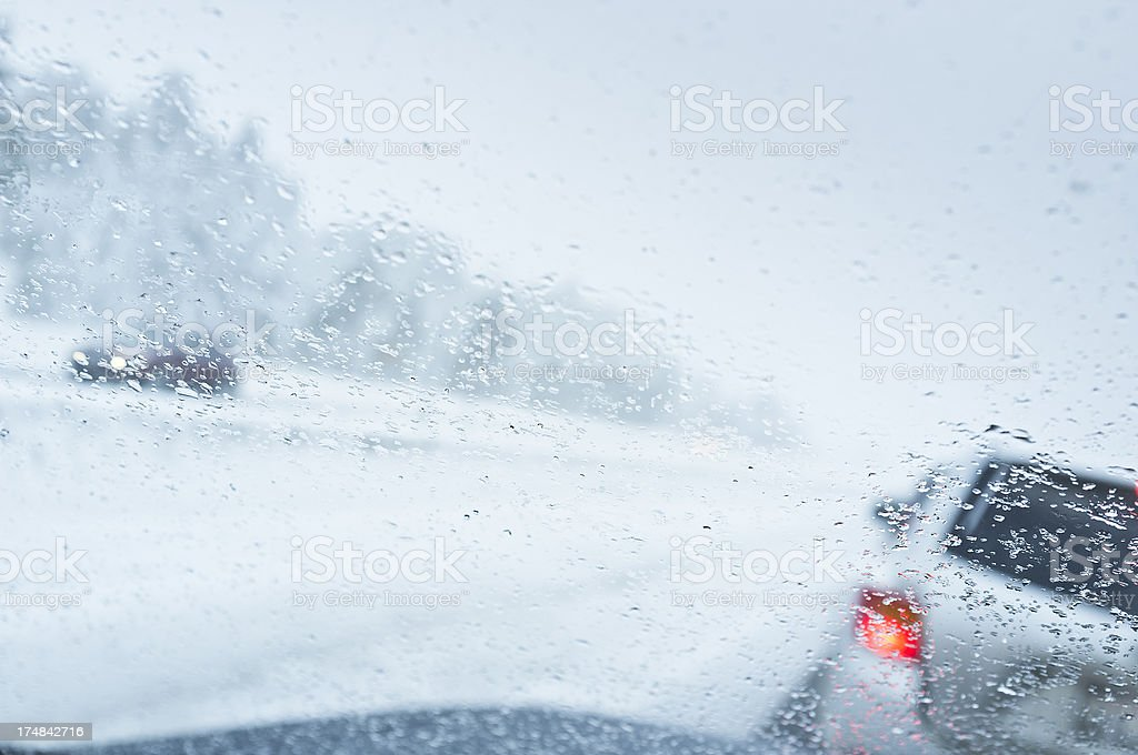 Snowy Wet Driving royalty-free stock photo