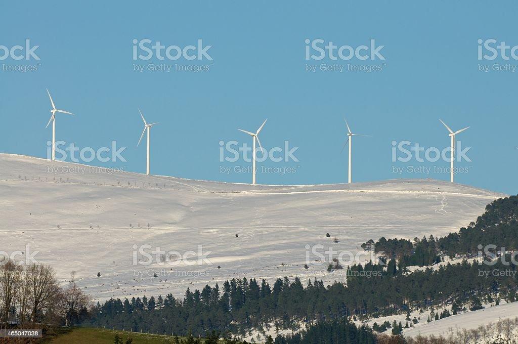 Snowy wind farm stock photo