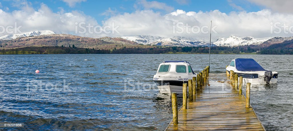 Snowy WIndermere stock photo