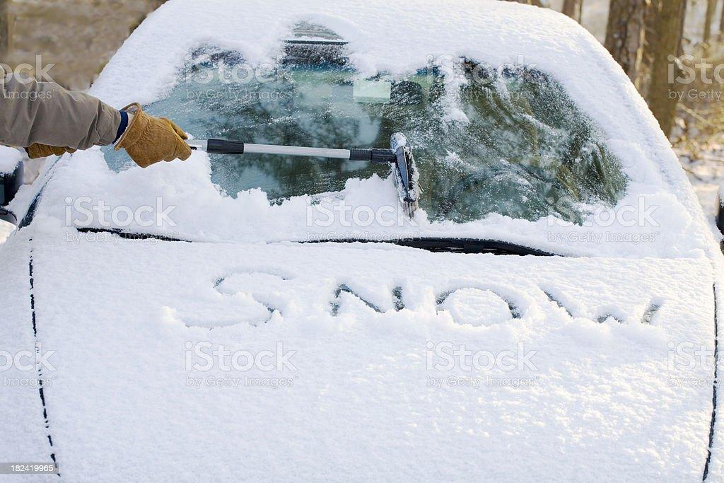 Snowy Windshield stock photo