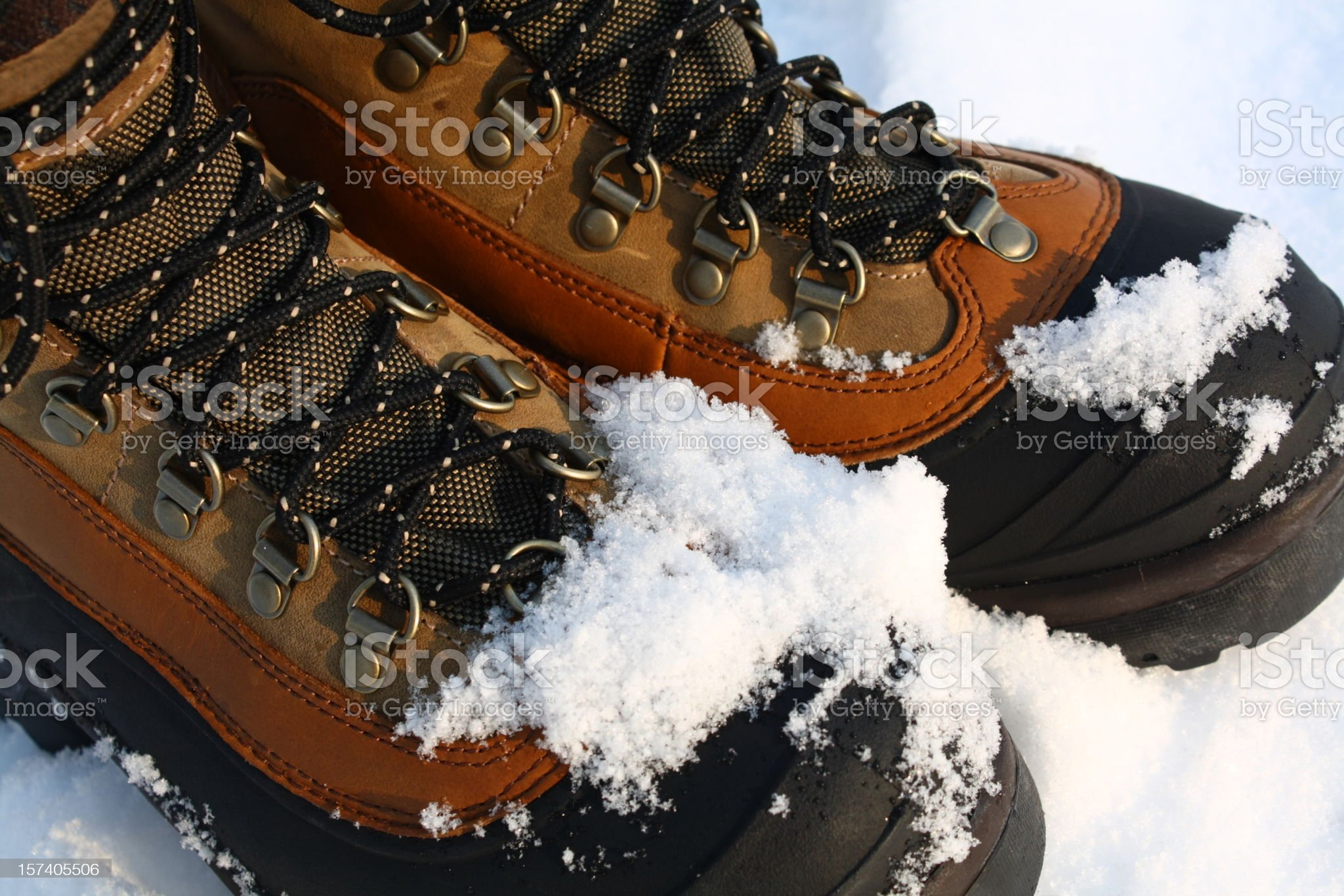 Snowy Winter Boots royalty-free stock photo