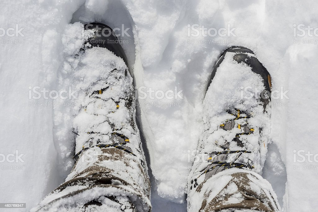 Snowy Winter Boots stock photo