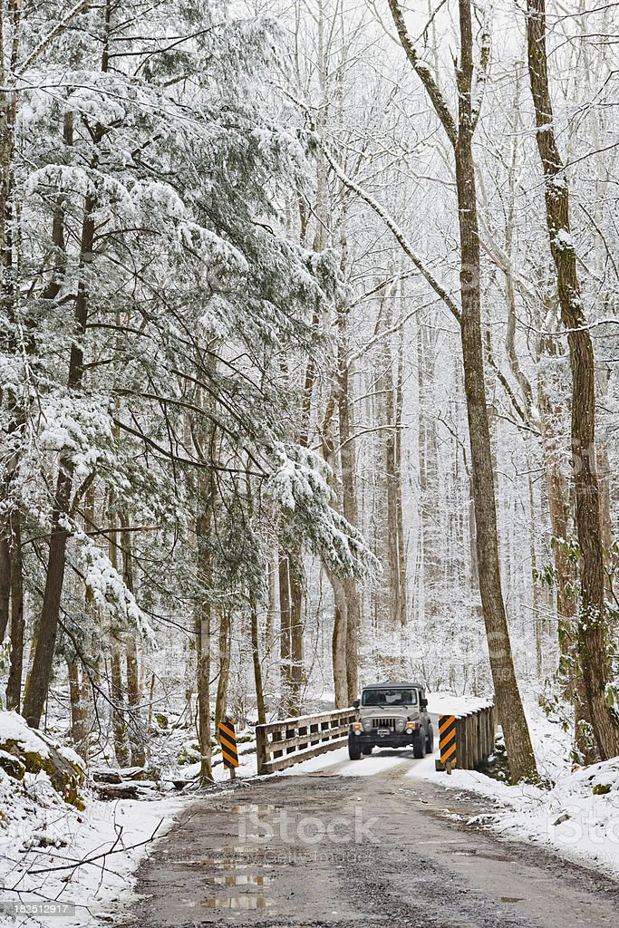 Snowy winter driving in the Smoky Mountains royalty-free stock photo
