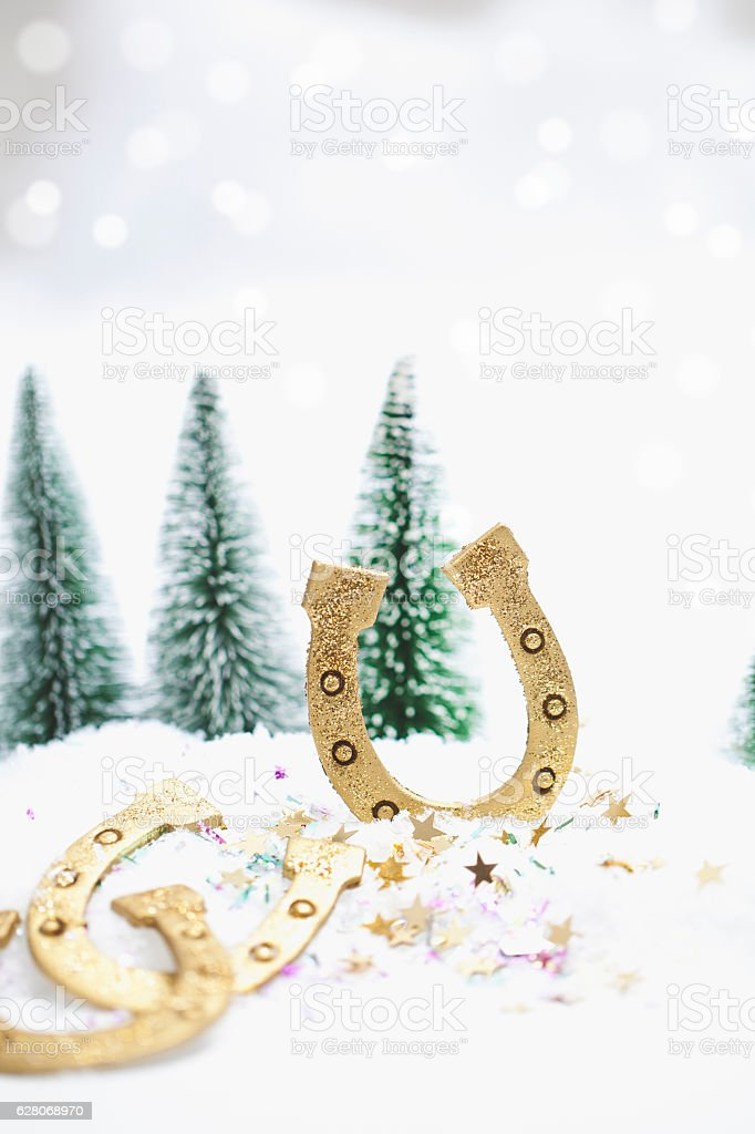Snowy Winter Forest with Happy New Years Greetings stock photo