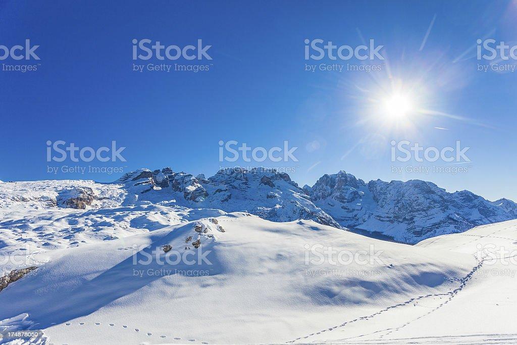Snowy Winter Landscape and Sun stock photo