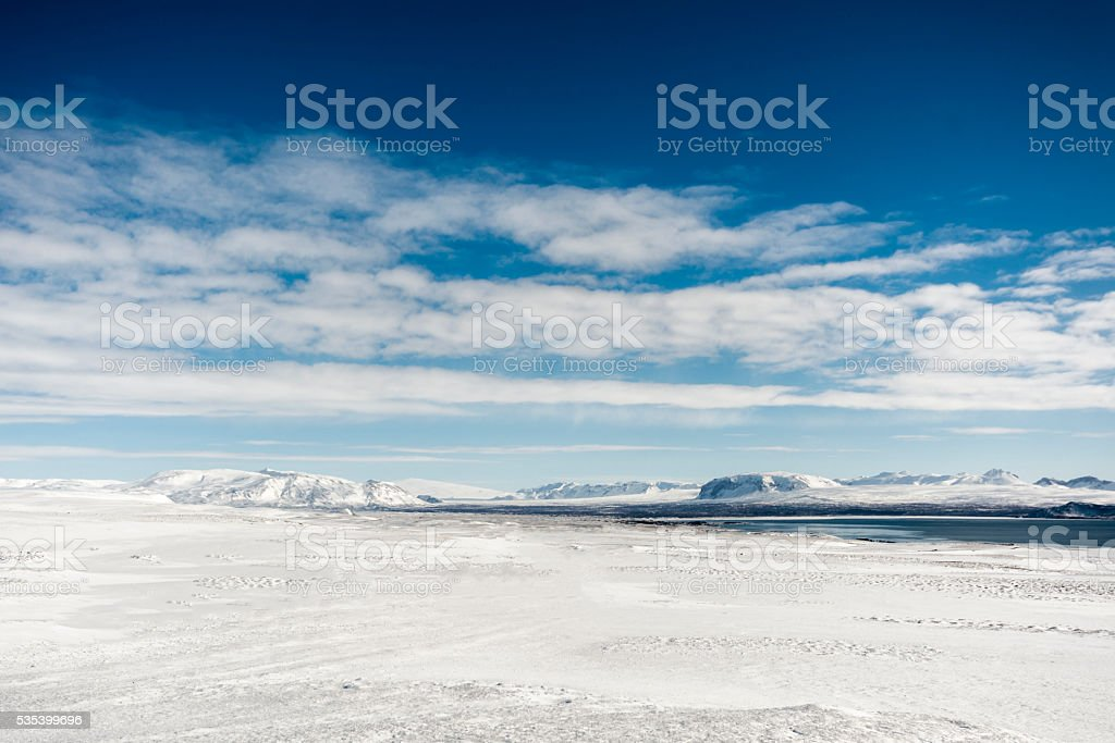 Snowy winter landscape at Pingvellir, Southern Iceland stock photo