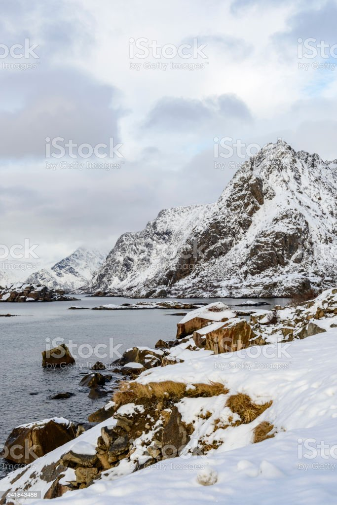 Snowy winter landscape in the Lofoten in Norway stock photo