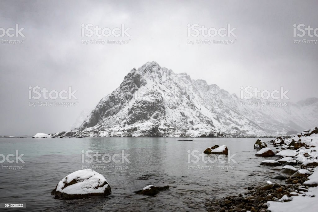Snowy winter landscape in the Lofoten in Norway stock photo