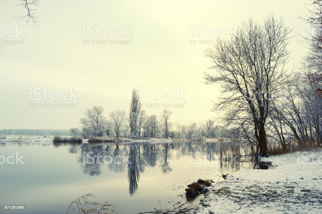 Snowy Winter landscape on Havel River (Germany) stock photo