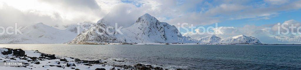 snowy winter landscape panorama in the Lofoten in Norway stock photo