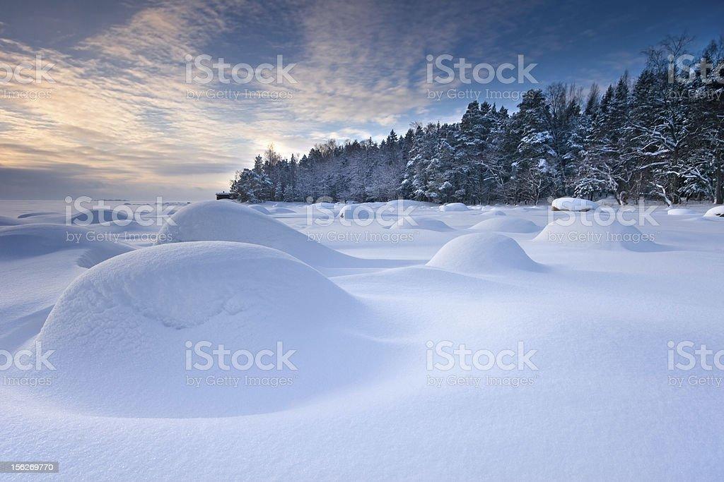Snowy winter morning in Helsinki royalty-free stock photo