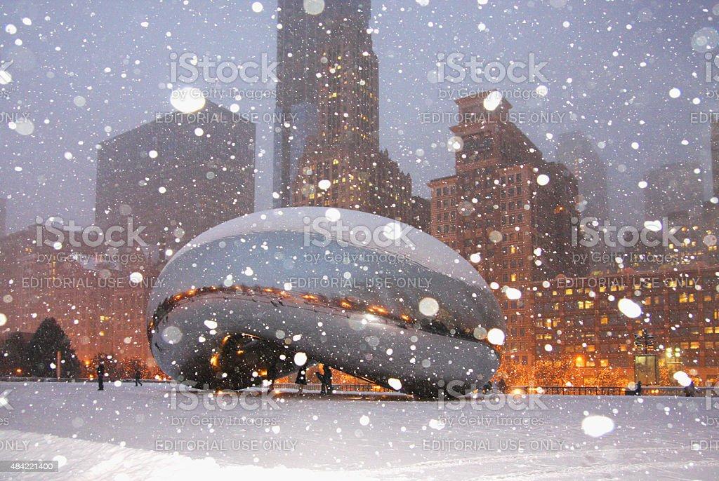 Snowy winter night in Chicago stock photo