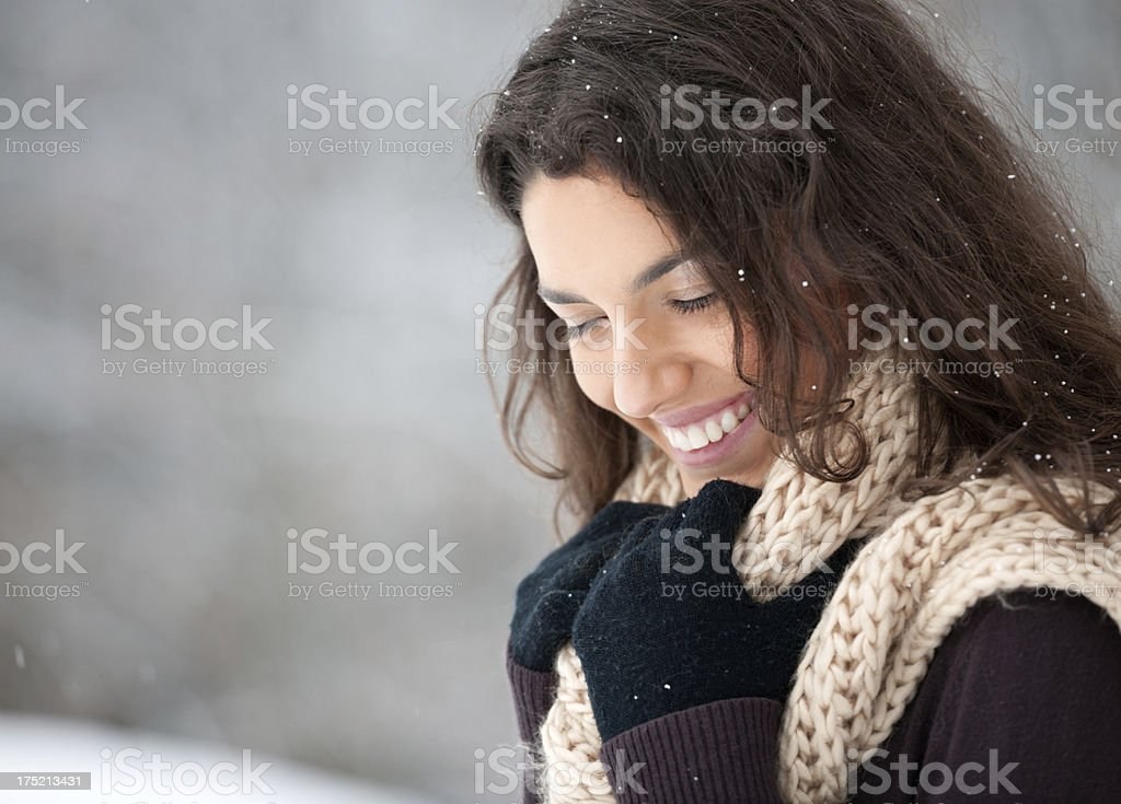 Snowy Winter Outdoor Portrait of a Natural Beauty royalty-free stock photo