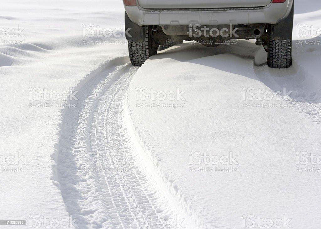 Snowy winter road car stock photo