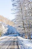 Snowy winter road