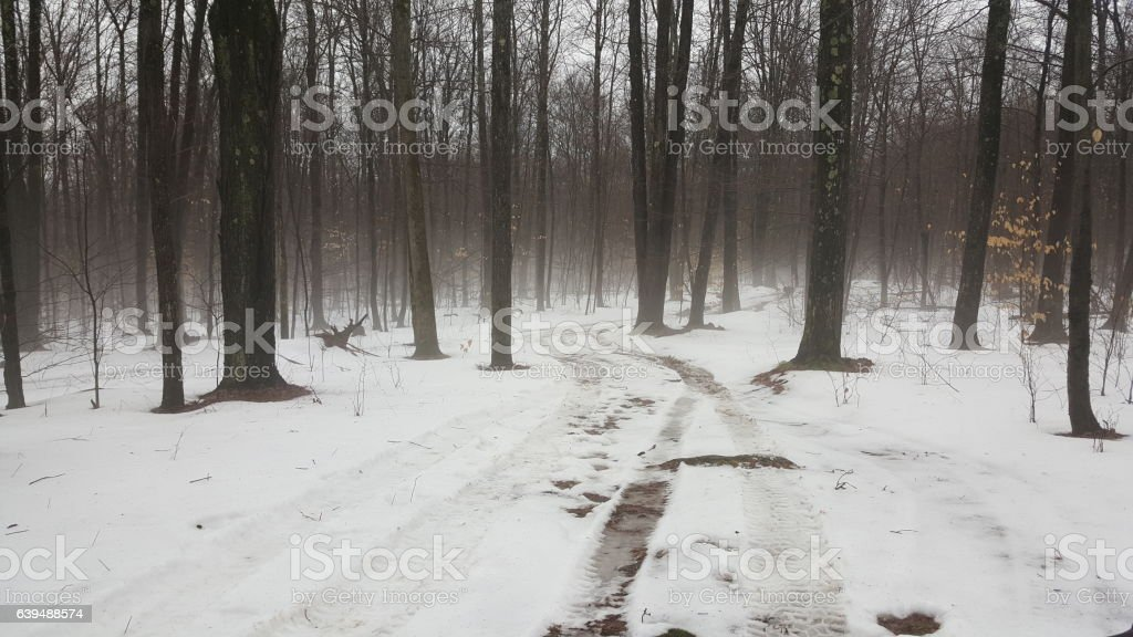 snowy winter road stock photo