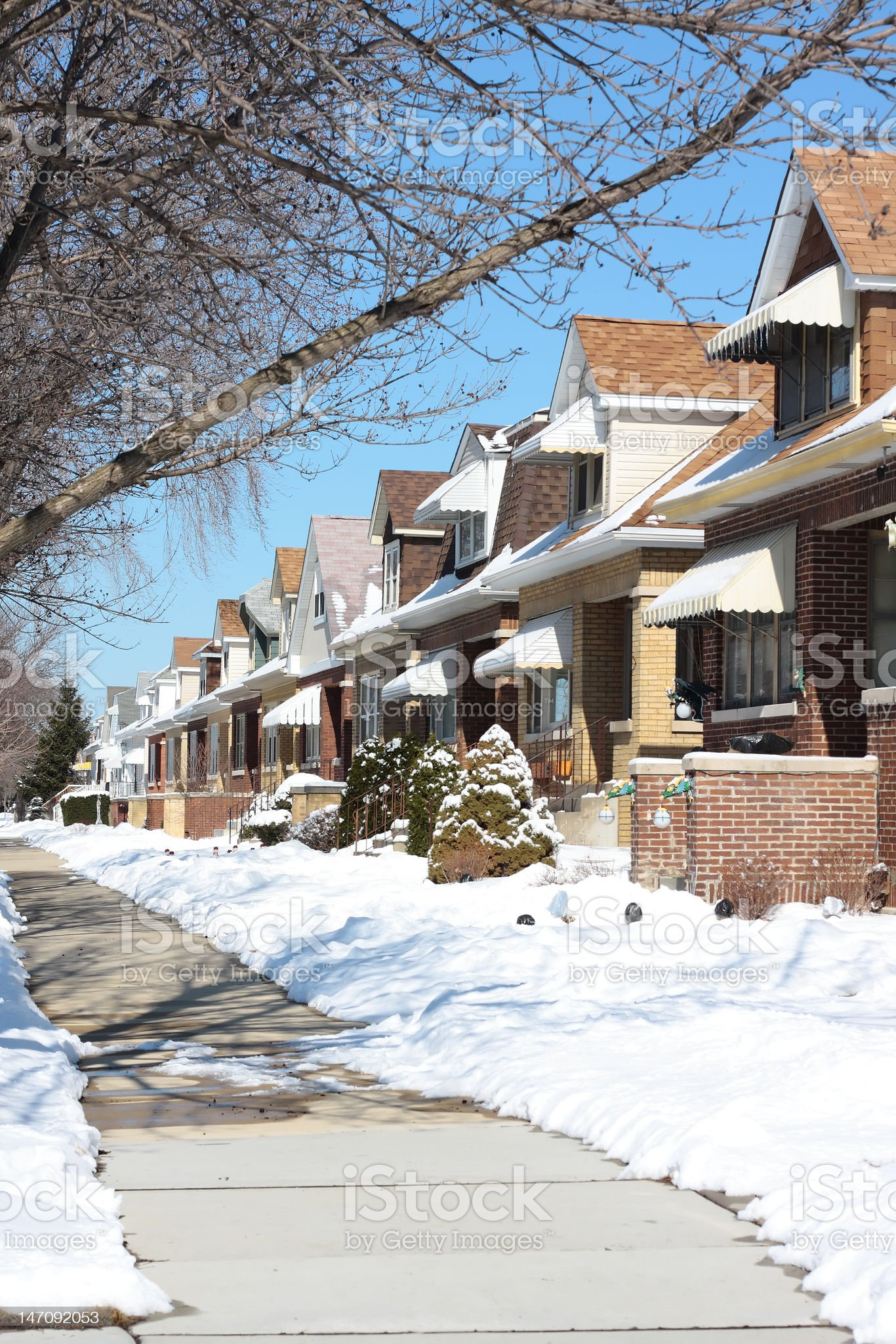 Snowy Winter Street in Chicago royalty-free stock photo