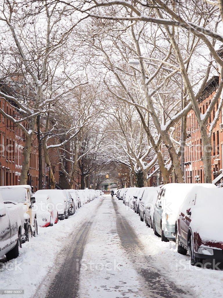 Neige hiver street photo libre de droits