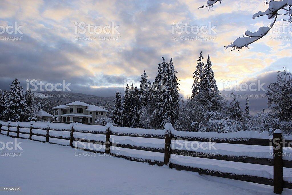 Snowy Winter Sunset royalty-free stock photo