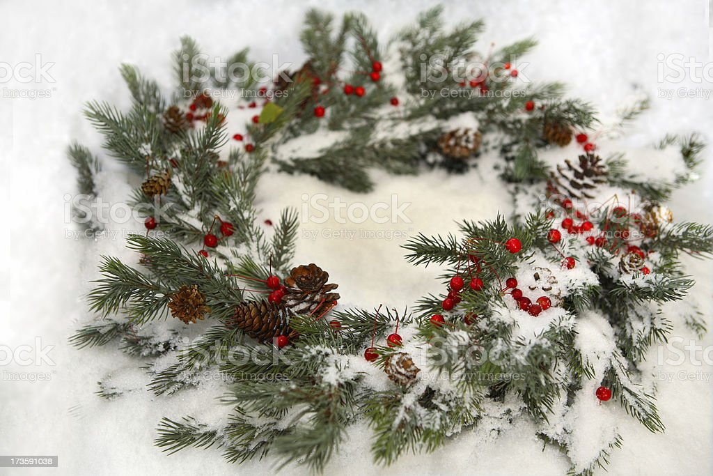 Snowy Wreath royalty-free stock photo