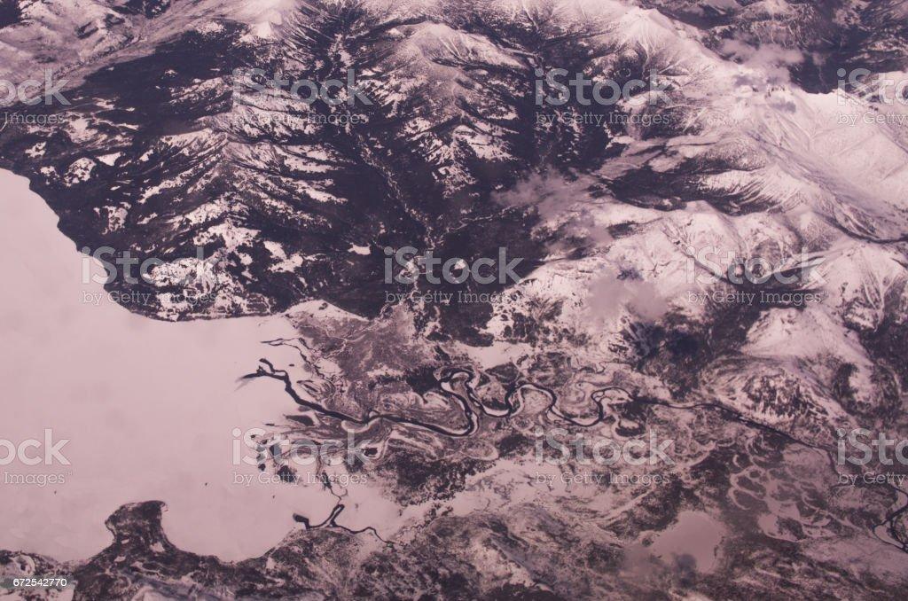 Snowy Yellowstone Lake stock photo