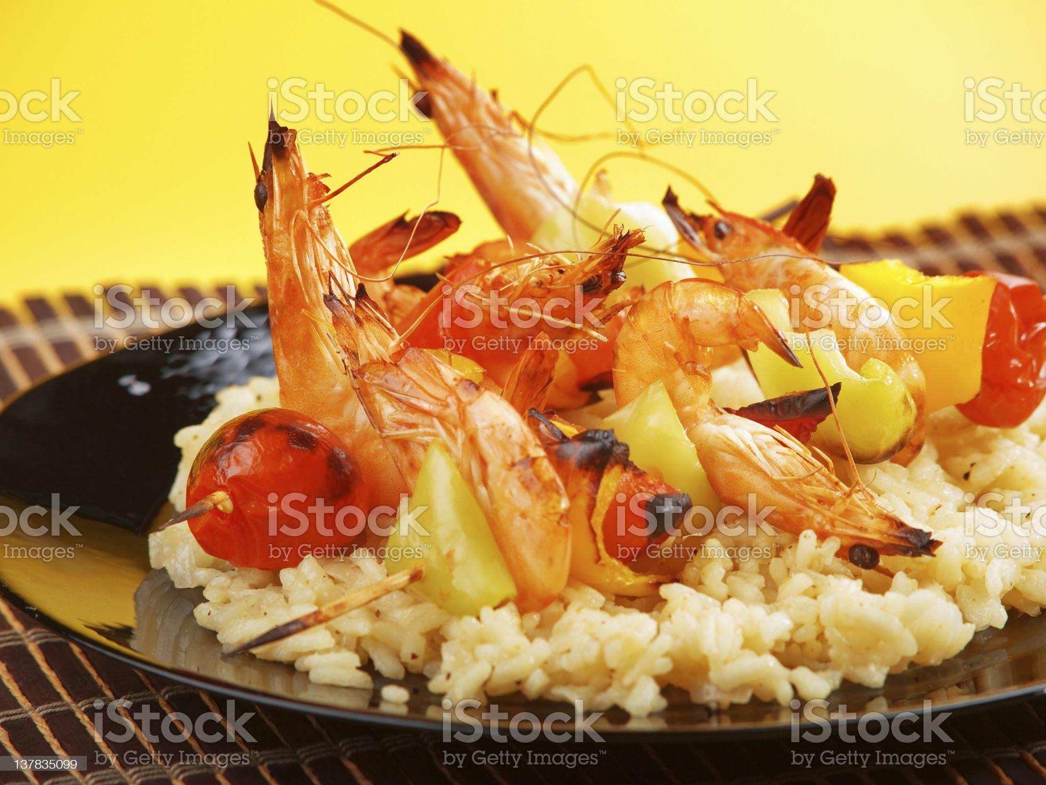 Snrimp skewer on rice royalty-free stock photo