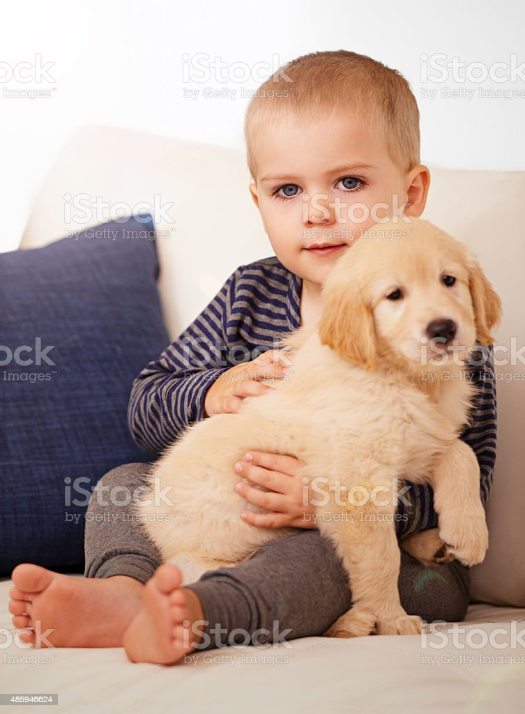 Snuggling his way into his heart stock photo