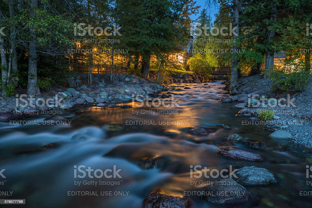 Snyder Creek at Night stock photo