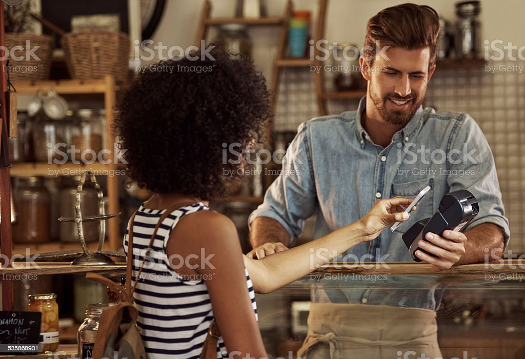 So easy to pay! stock photo