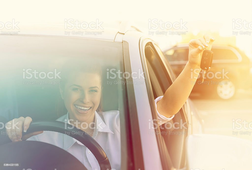 so excited for my new car stock photo
