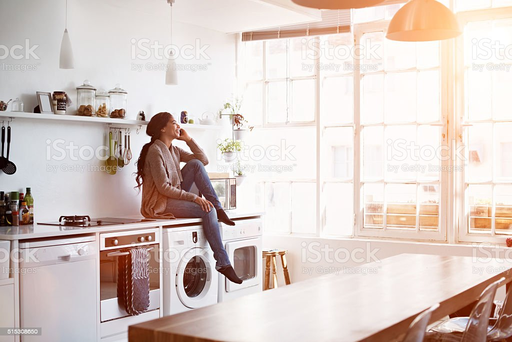 So good to hear your voice! stock photo