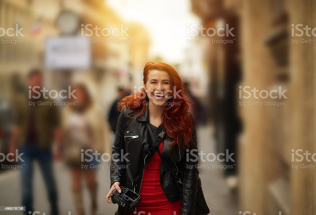 so happy and relaxed in city walk stock photo