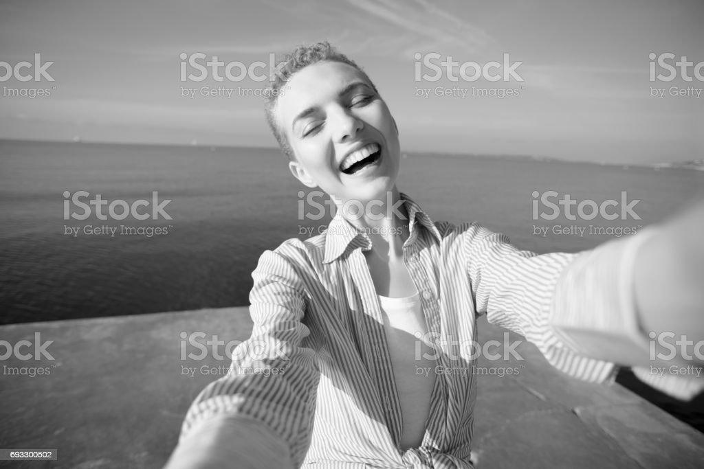 So Happy at the Seaside stock photo