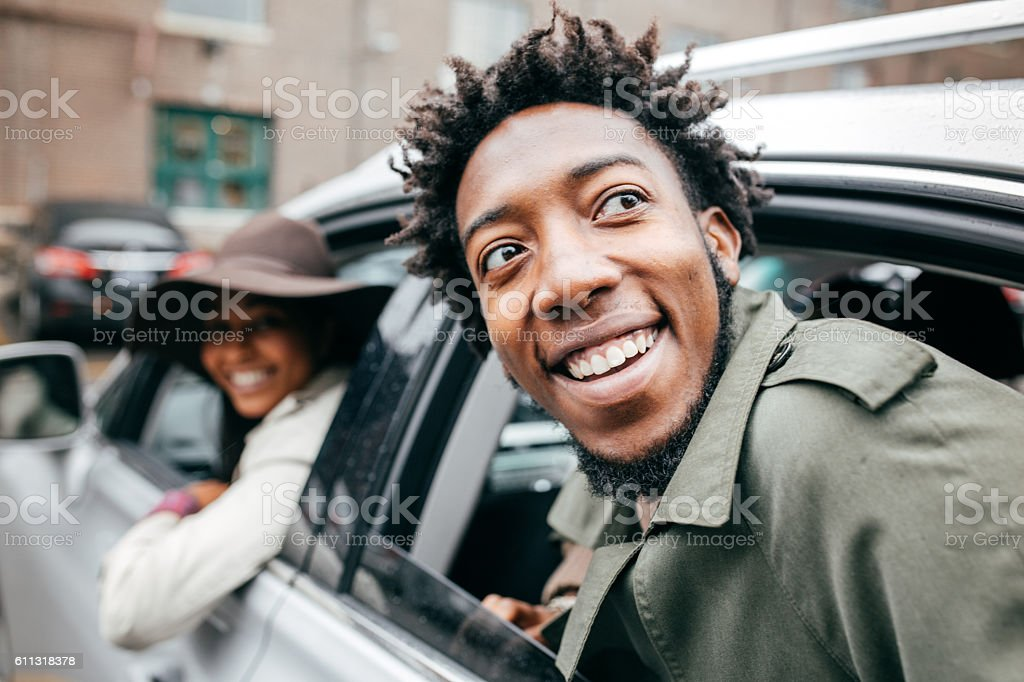 So happy with new road trip stock photo