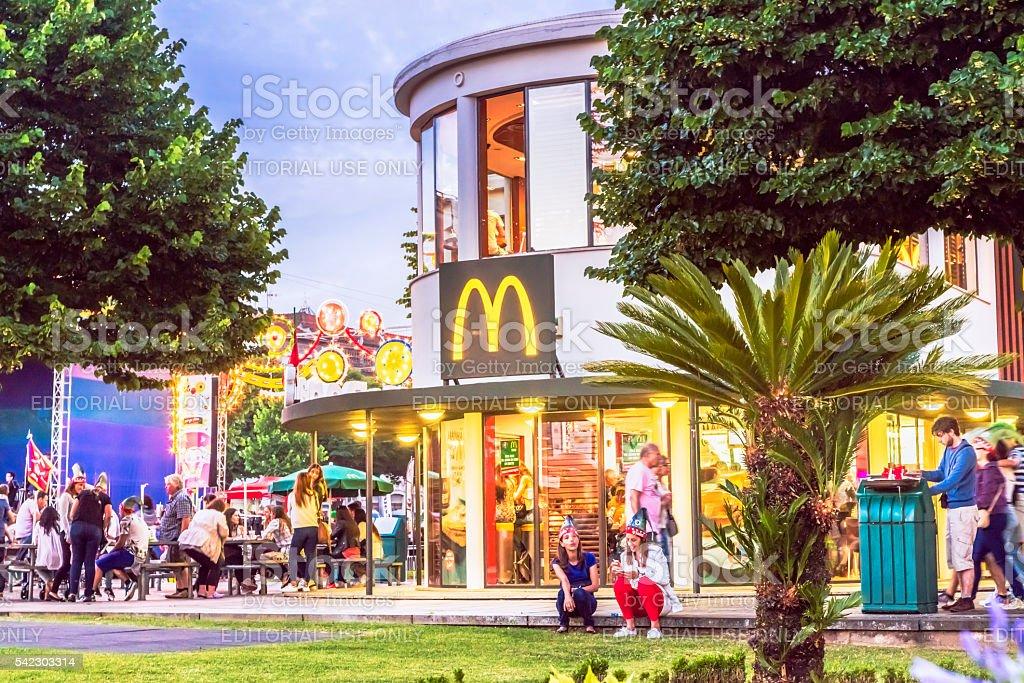 São João festival in Braga, with MacDonald's restaurant stock photo
