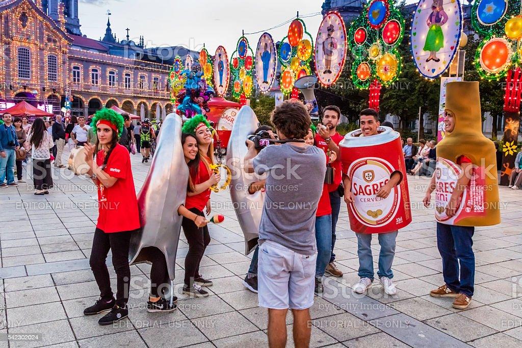 São João festival with teenagers marketing a beer brand stock photo